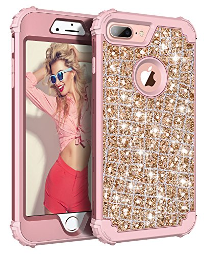 Hekodonk Compatible iPhone 8 Plus Case, iPhone 7 Plus Case, 3D Luxury Sparkle Glitter Shiny Heavy Duty Shockproof Full-Body Protective Hybrid Cover for Apple iPhone 8 Plus / 7 Plus (Bling Rose Gold)