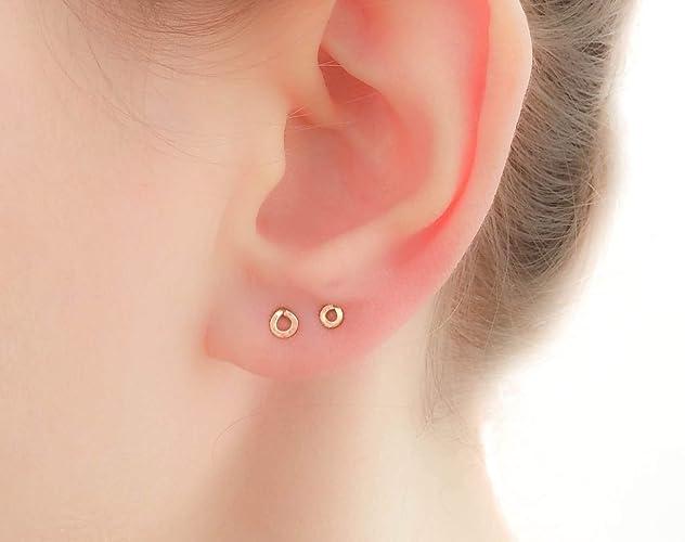 7becbfa56902c Small Earrings Tiny Flat Round Circle Studs Petite teeny tiny 14k ...