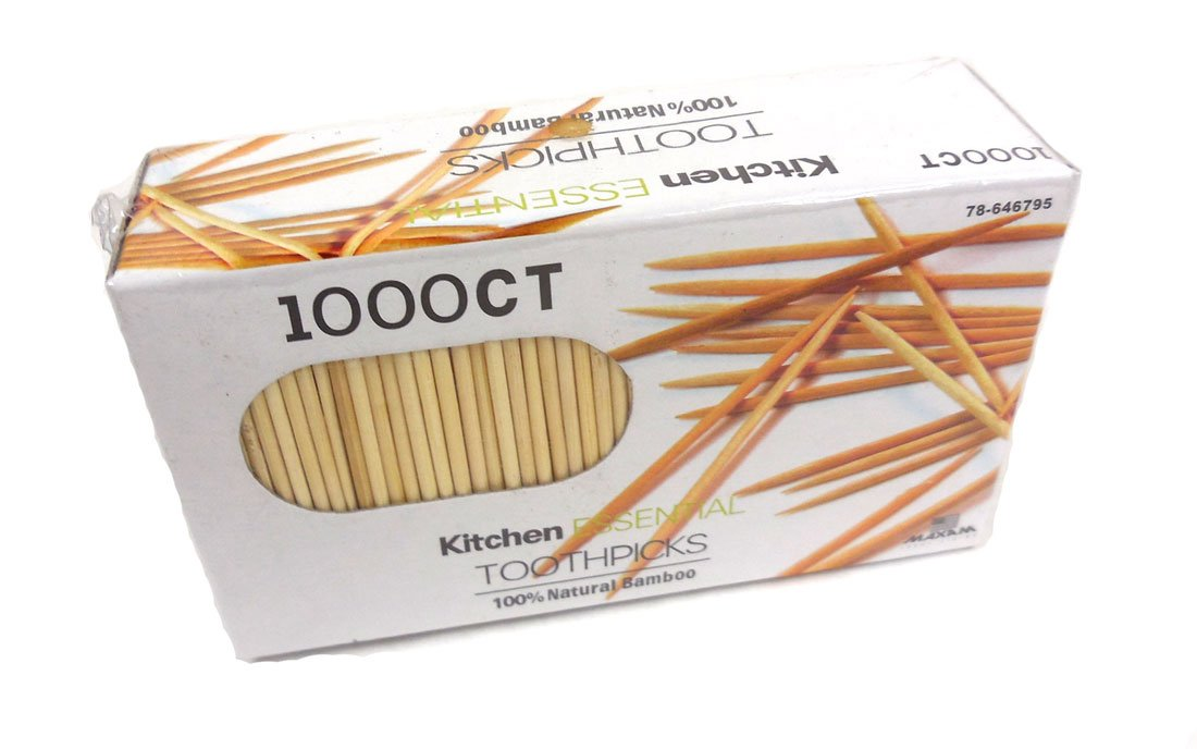 1000 Count 100% Natural Bamboo Toothpicks – Kitchen Essential 78-646795