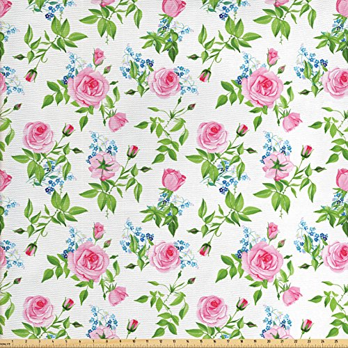 Rose Upholstery Fabric - Lunarable Shabby Chic Fabric by the Yard, Forget Me Not Flowers with Pink Roses Tender and Delicate Spring Theme, Decorative Fabric for Upholstery and Home Accents, Pink Green Blue