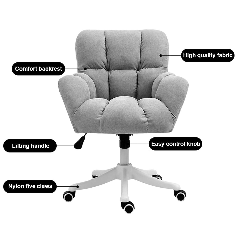 360° svängbar kontorsstol för vardagsrum och sovrum, modern mellanrygg uppgift stol för datorskrivbord, max belastning 150 kg gUL