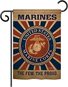 """Breeze Decor - Marine Corps Burlap Americana - Everyday Military Impressions Decorative Vertical Garden Flag 13"""" x 18.5"""" Official Licensed Product Made in USA"""