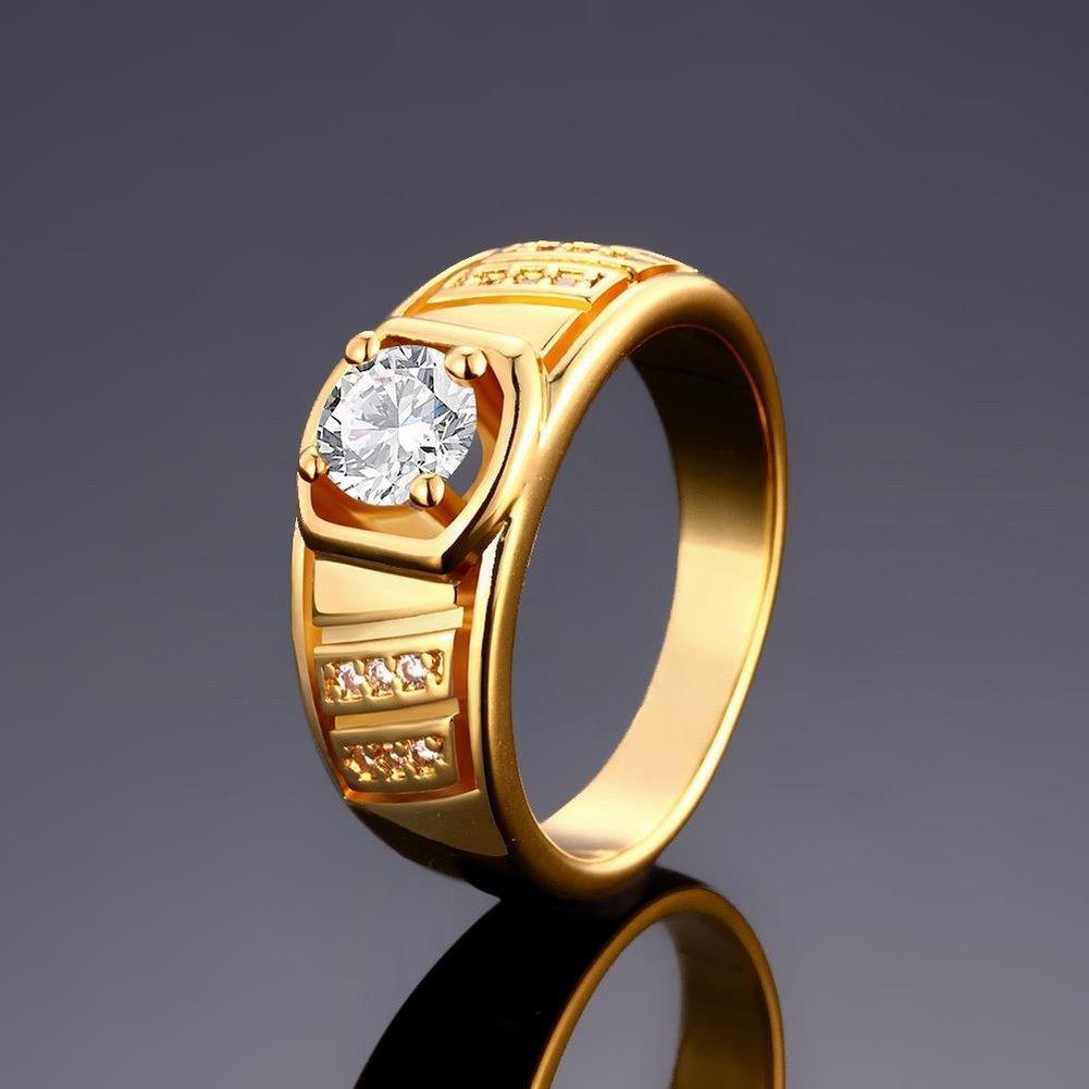 K Oro Zircon Elegante Geomé trico Caballero Anillo Masculino 8 # Oro - Masculino , oro , 8 HOX