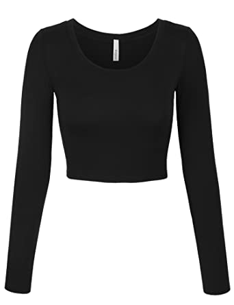 daf37f52ac KOGMO Womens Long Sleeve Basic Crop Top Round Neck with Stretch -S-Black