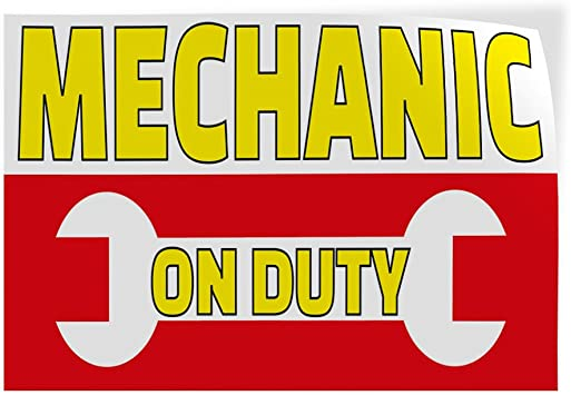 52inx34in Set of 2 Decal Sticker Multiple Sizes Mechanic On Duty Business Automotive Mechanic Outdoor Store Sign Yellow