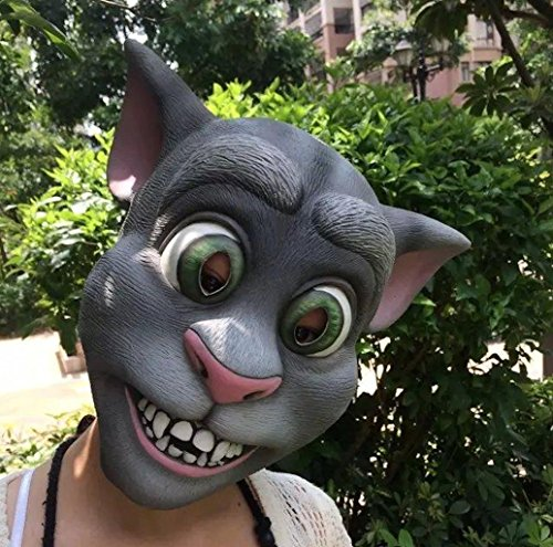 Tom Cat Halloween Costume (Latex Tom Rubber Animal Cat Mask for Halloween Party Costume)