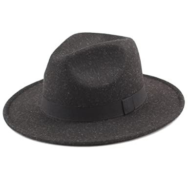 3ebf0b101bc Romacci Men s Fedora Hat Cowboy Felt Trilby Hats Wide Brim Vintage Men Hats  Jazz Hat Caps
