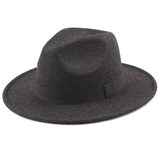 2d80f3af93378 Image Unavailable. Image not available for. Color  Romacci Women Men Unisex Felt  Trilby Hats Wide Brim Adjustable Fedora ...