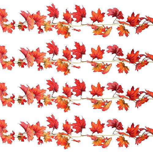 Sunshane 4 Pack 5.9 Feet Fall Garland Artificial Maple Leaf Garland Autumn Thanksgiving Party Room Decoration