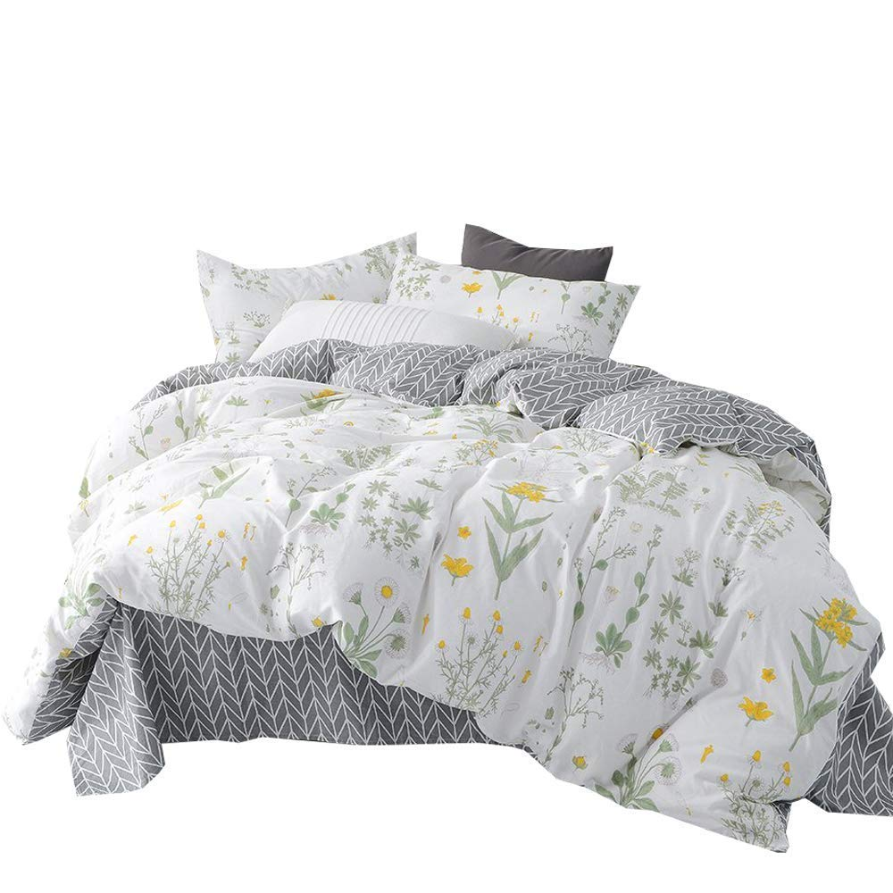 King Bedding Sets Premium Cotton Duvet Cover Sets for Teens Adults, Reversible Floral Geometric Pattern Comforter Cover Sets for Girls Woman