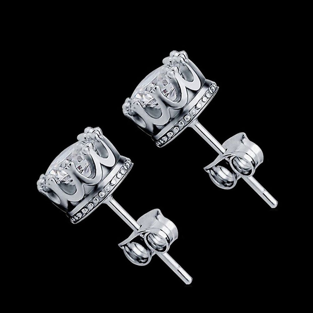 Alvade Shining Crown Earrings, Elegant Silver-Plated Stud Earrings Girl Jewelry Diamond Jewelry Ladies for Gift Silver Jewelry Graduation Gift by Alvade (Image #4)