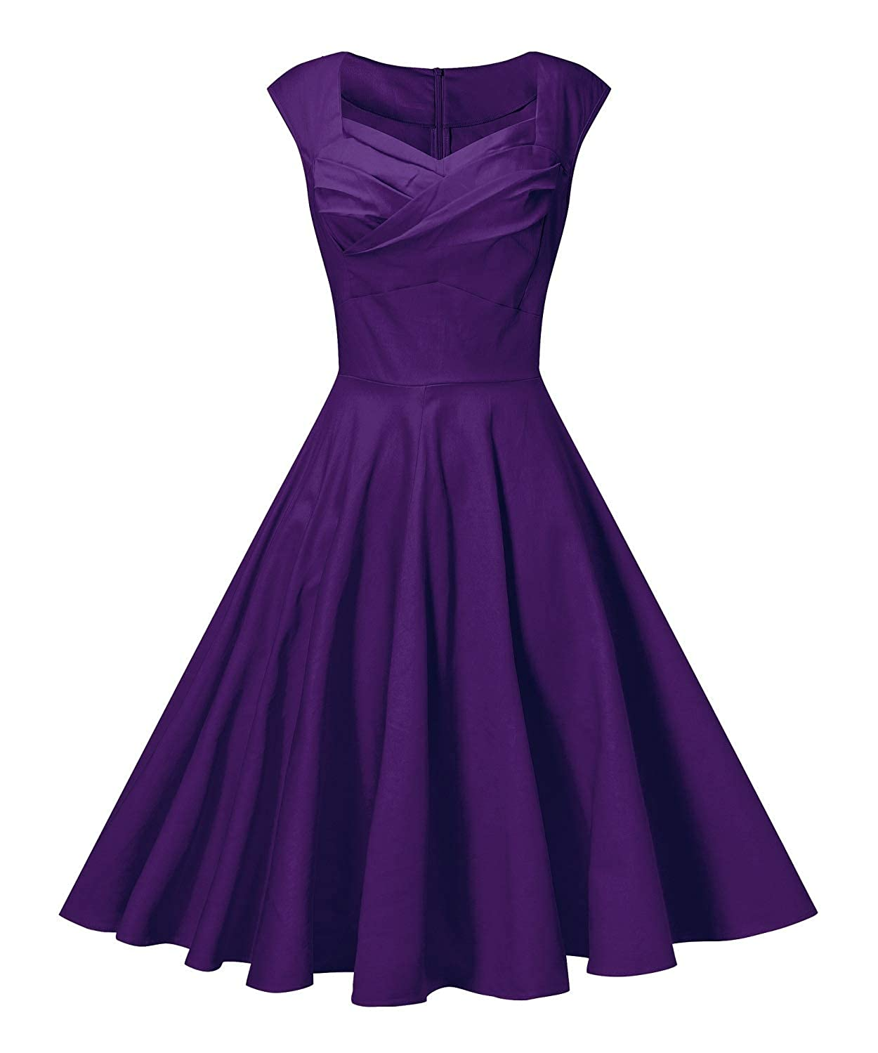 Purple PENGEE Women's Retro 1950s Vintage Party Swing Dress Cap Sleeve Cocktail Dress