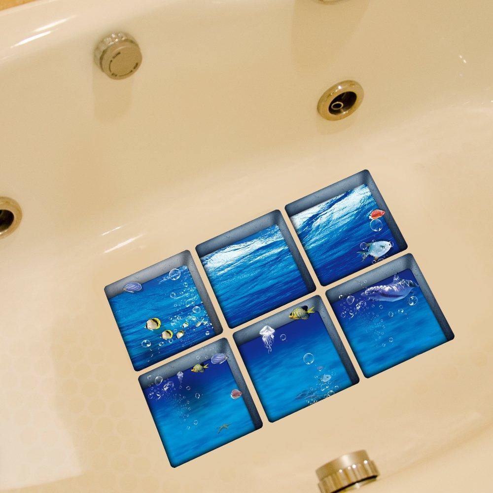 Oceano Weare Home e motivo arcobaleno Serie di 6pezzi decorazione Design creativo adesivi antiscivolo per bambini di sicurezza per vasca da bagno, je pezzi 14.5x 14.5cm