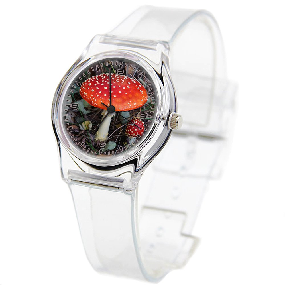 Personality Transparent Wristwatch Transparent Strap Summer Decoration Woman Child teacher Teen Young Girls Children Kids Watches Colorful Flower-477.Mushroom, Autumn, Forest, Gnome