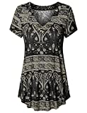 Vinmatto Women's Short Sleeve V Neck Flowy Tunic Top(XL,Multi Black)