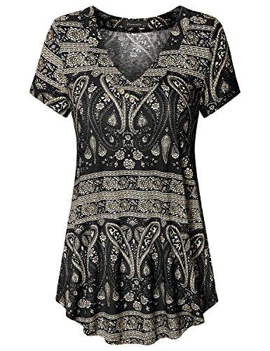 Vinmatto Women's Short Sleeve V Neck Flowy Tunic Top(XL,Multi Black)