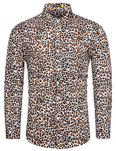 Animal Print Shirts - TUNEVUSE Men Floral Dress Shirts Long Sleeve Casual Button Down Shirts 100% Cotton Animal Print Shirt XX-Large