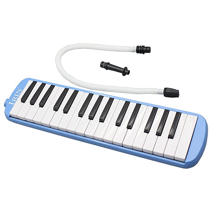 Melodica de teclas piano - IRIN Melodica de 32 teclas piano Instrumento musical para principiantes amantes de musica Regalo con bolsa de transporte Azul: ...