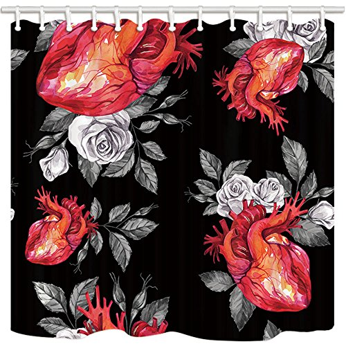 NYMB Watercolor Gothic Love Shower Curtains for Bathroom, Anatomic Hearts with Sketches of Roses and Leaves in Vintage, Polyester Fabric Waterproof Bath Curtain, Shower Curtain Hooks Included, 69X70in