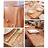 B-COOL Sequin Tablecloth Rose Gold tablecloth for Wedding Party Ceremony 50''x102'' Sequin Tablecloth