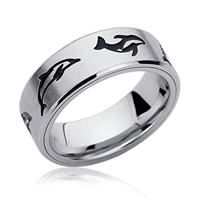 free engraving personalized 8mm stainless steel rings swimming dolphin engraved spinner wedding bands - Dolphin Wedding Rings