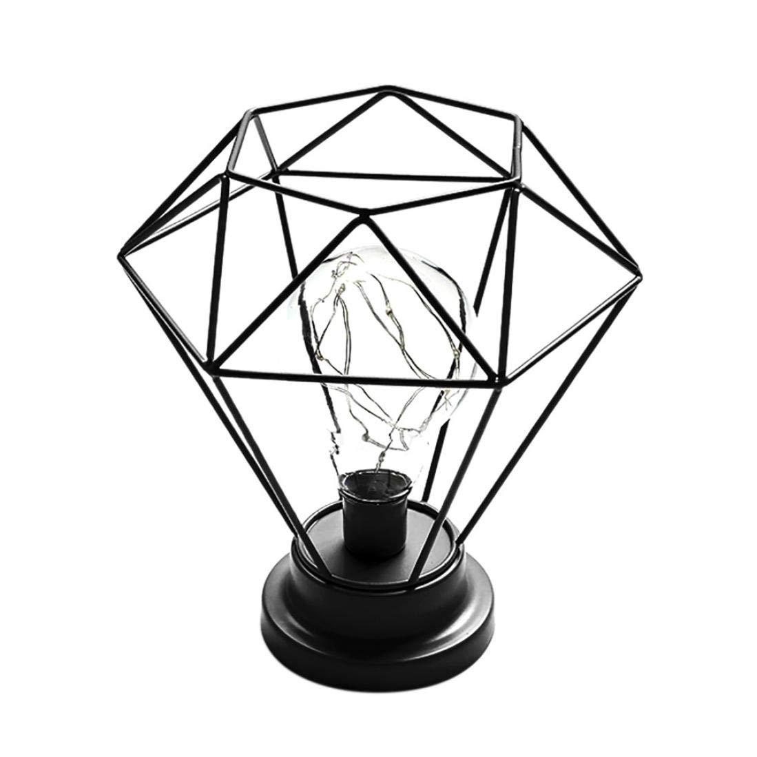 Sonmer Creative Diamond Iron Frame Photography Prop Desk Lamp, for Bedroom Decoration (Black)