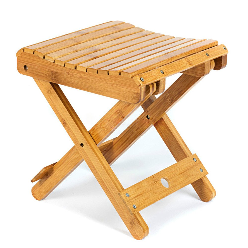 MyLifeUNIT Bamboo Folding Stool, 11.8 Inch Height, Weight Capacity 440 lbs