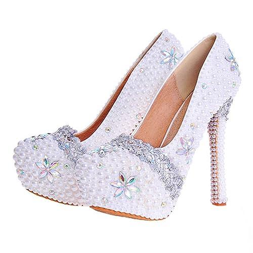 cd9fa782a1558 ウェディングシューズ 結婚式 靴 レディース パンプス 白 痛くない ハイヒール レース 真珠 ブライダルシューズ フォーマル