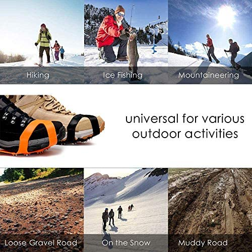 11 Spikes Crampons, Upgraded Version Stainless Steel Anti-Slip Microspikes, Ice Cleats Grips for Hiking Shoes and Boots, Hiking Fishing Walking Mountaineering