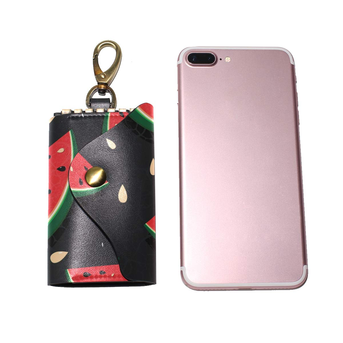 KEAKIA Watermelon Leather Key Case Wallets Tri-fold Key Holder Keychains with 6 Hooks 2 Slot Snap Closure for Men Women