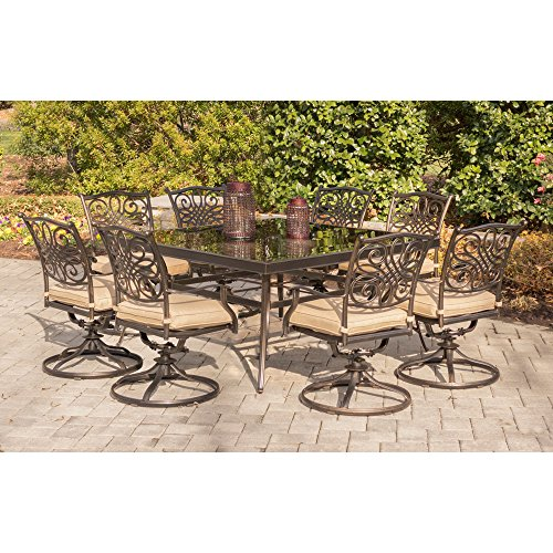 Hanover TRADDN9PCSWSQG Traditions 9 Piece Set in Tan with a 60