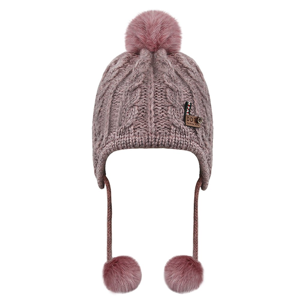 Children Knit Wool Earmuffs Hat With Ear Flaps Windproof Cold Kids Outdoor Winter Sports Ski Hood Cap Hiking Hat Children Crochet Pom Pom Beanie Cosy Solid Color Warm Cap Fit 4 Years-8 Years