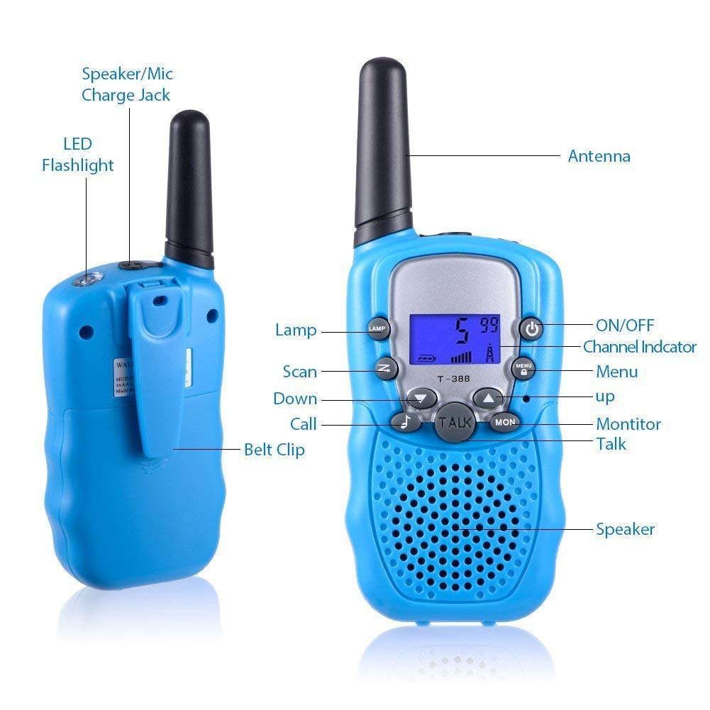 Rechargeable Walkie Talkie, Easy to use Two Way Radios, Best Gift 22 Chanels Long Range Cool Vox Walky Talky for Camping Hiking Fishing Toys with Batteries and Charger (Blue) by GZL (Image #2)