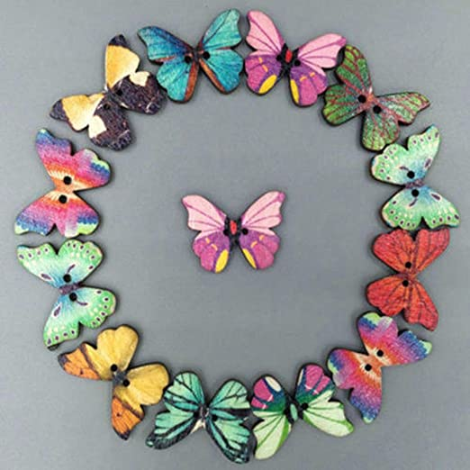 Easter Decorations, 50Pcs Mixed Bulk 2 Holes Butterfly Phantom Wooden Sewing Buttons Scrapbooking,Home Decoration Sales!!!