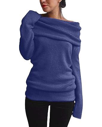 ZANZEA Damen Sexy Langarm Off Shoulder Cardigan Asymmetrisch Pullover Strick  Langshirt Bluse Top (EU 36 20c9a1e51c