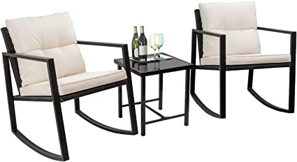 Amazon Com Flamaker 3 Pieces Patio Furniture Set Rocking Wicker Bistro Sets Modern Outdoor Rocking Chair Furniture Sets Clearance Cushioned Pe Rattan Chairs Conversation Sets With Coffee Table Beige Garden Outdoor