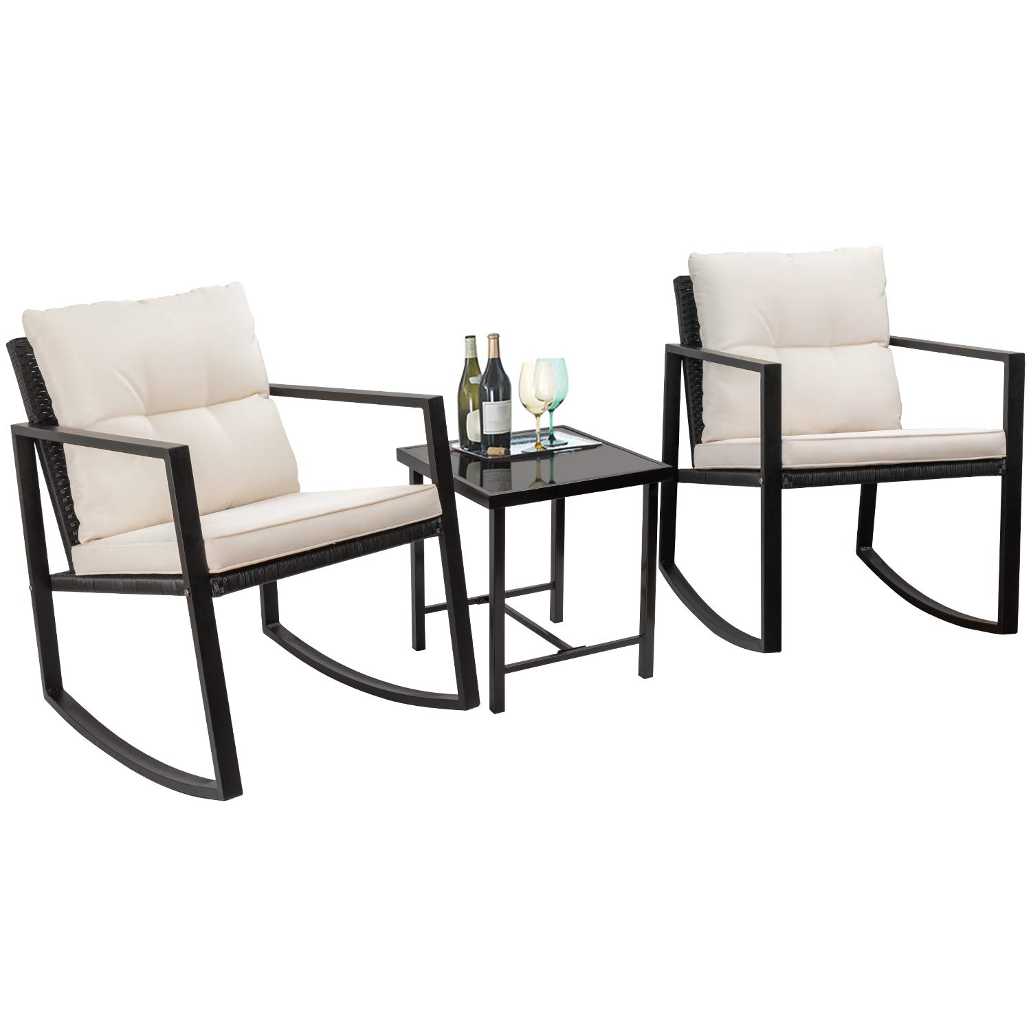 Flamaker 3 Pieces Patio Furniture Set Rocking Wicker Bistro Sets Modern Outdoor Rocking Chair Furniture Sets Cushioned PE Rattan Chairs Conversation Sets with Coffee Table Black