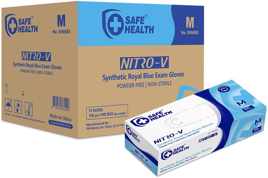 SafeHealth - Nitro-V Nitile&Vinyl Blended Exam Gloves, Case of 1000, Medium, Synthetic Blue, Powder/Latex-Free, Disposable, Medical Grade, Food, Cleaning, House Improvement, General Use
