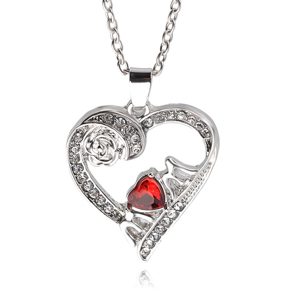 Gbell Women Elegant Love Heart Pendant Necklace Crystal Rose Chain Jewelry Statement Gifts for Mother Mom Gifts (Silver)