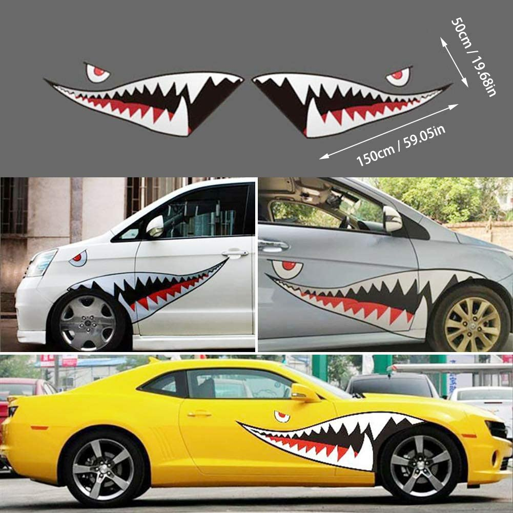 Zqasales Pair 59'' Shark Mouth Tooth Teeth Sticker Vinyl Exterior Decal for Car Side Door car Exterior Stripe Sticker