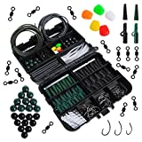 Dr.fish Set of 237 Carp Fishing Tackle in Box Rigs Safety Clips Hooks Swivel Snap Corn Tubing Accessories Green Black