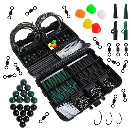 (Dr.Fish Carp Fishing Tackle Pocket Flip Box with 237 Pieces Rigs Lead Clips Hooks Swivel Corn Tube Beads Accessories Joblot Black)