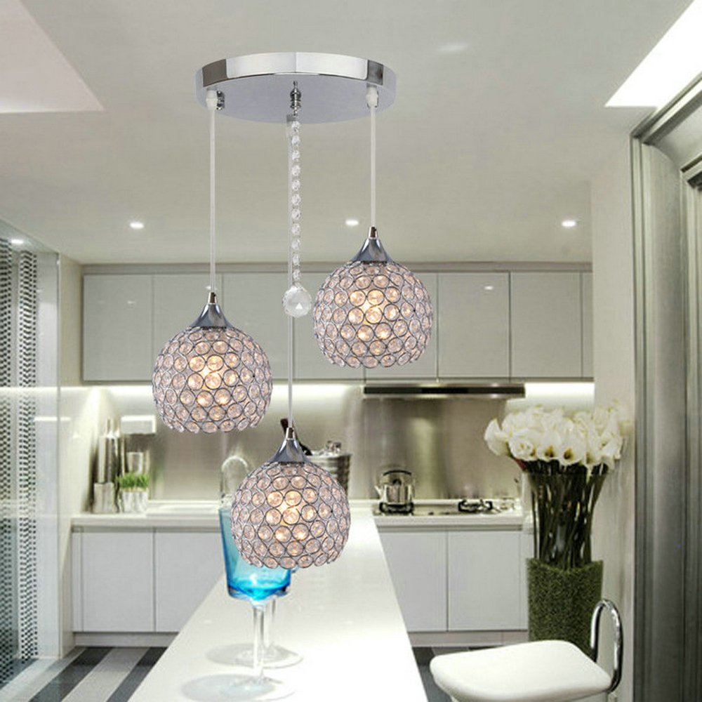dinggu 3 lights modern crystal ball pendant light fixture flush