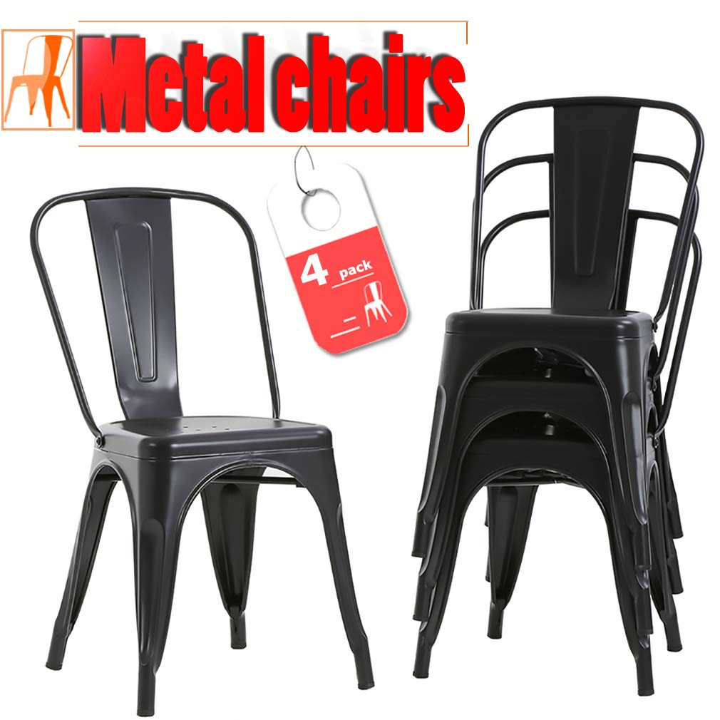 FDW Stackable Chair Restaurant Chair Metal Chair Chic Metal Kitchen Dining Chairs Set of 4 Trattoria Chairs Indoor/Out Door Metal Tolix Side Bar Chairs