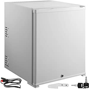 VBENLEM 1.4cu.ft 110V/12V Portable Refrigerator AC DC No Noise Compact Absorption Fridge White Mini Car Cooler with Lock Reversible Door for Apartment Hotel Hospital Camping Traveling Vehicle RV Boat