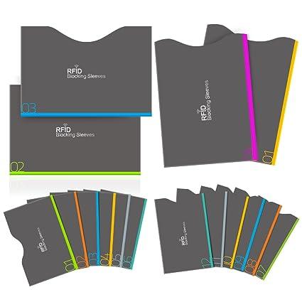 Bloqueo RFID, Aerb 16-Pack Tarjeteros para Tarjetas de Credito y Pasaporte [12 Protectores Tarjeta Credito & 4 Protectores Pasaporte]