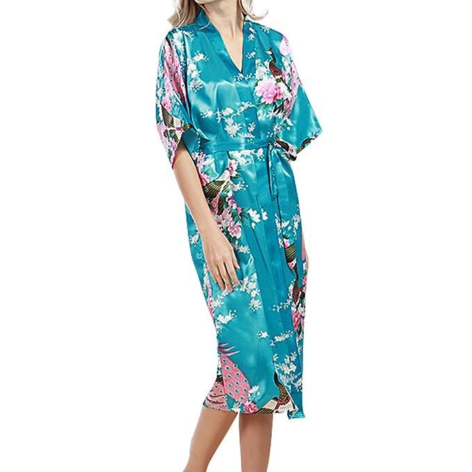 Oudan Bata de Mujer Bata Larga Bata de Kimono Bata de Dormir con Pavo Real y Flores de Raso: Amazon.es: Ropa y accesorios