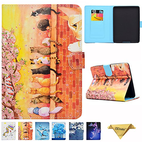 Folio Case for Kindle Paperwhite, JZCreater Slim Leather Smart Case Cover with Auto Wake/Sleep For Amazon Kindle Paperwhite 2012 2013 2015 and 2016 All-new 300 PPI Versions, Cats