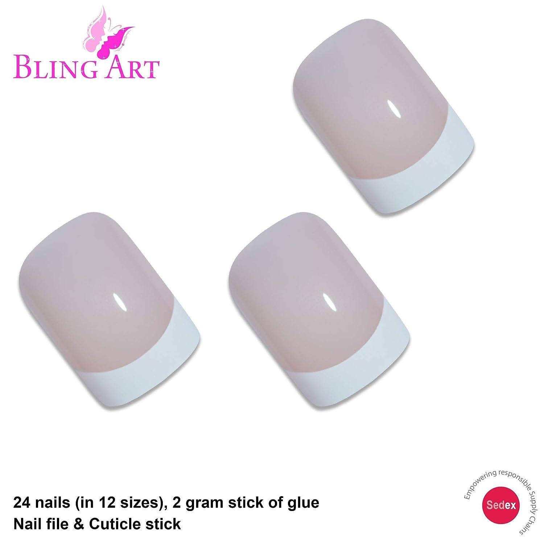 Uñas Postizas Bling Art francés Blanco Glossy 24 Squoval Medio Falsas puntas acrílicas con pegamento: Amazon.es: Belleza