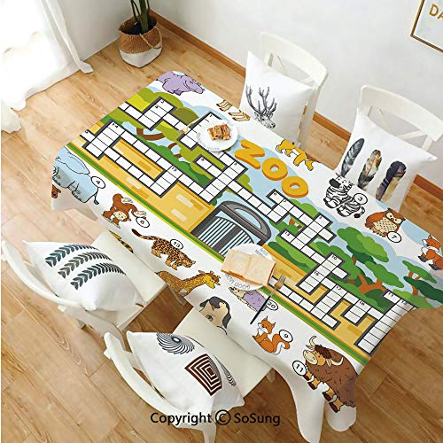 Word Search Puzzle Rectangle Polyester Tablecloth,Zoo Themed Education